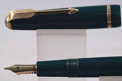 Vintage Parker Duofold Slimfold Dark Green with Rolled Gold Trim & 14k Nib