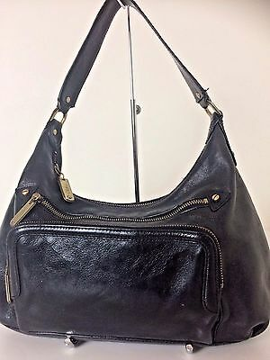 Cole Haan Black Leather Satchel Shoulder Purse Bag