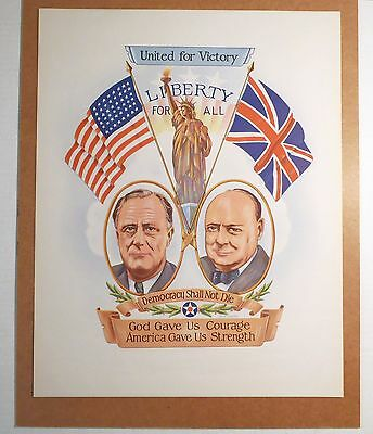 Original Wartime CHURCHILL & ROOSEVELT UNITED FOR VICTORY LIBERTY FOR ALL POSTER