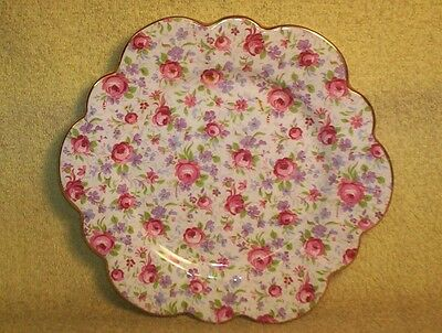 Vintage CHINTZ PLATE M&S England Fine Bone China Pink Roses Purple Flowers