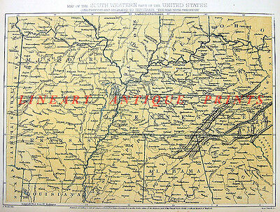 Old Antique 1864 Color Topographical Map Engraving of SOUTHWESTERN UNITED STATES