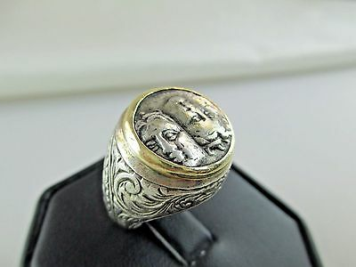 Vintage GREEK ISTROS COIN 14K Gold Sterling Silver Ring Men's 400-350BC ?? 469C