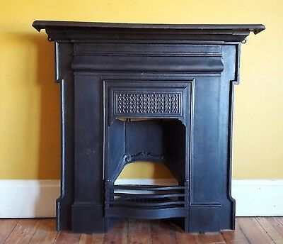 Original  Antique Victorian Edwardian Cast Iron Combination Fireplace