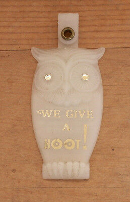 vintage Fairland IN key chain fob tag hoot owl bird B G Engravers badges by babe
