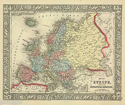 """1865 S.A. Mitchell """"Map of Europe showing its Geopolitical Divisions..."""""""