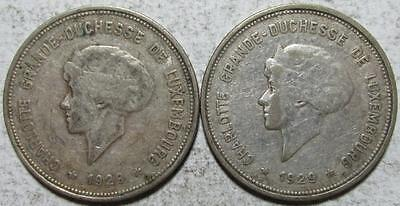 Luxembourg, 5 Francs, 1929, 1 Very Fine & 1 Fine, .3216 Ounce Silver