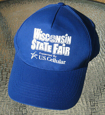 new Wisconsin State Fair Park Vintage Snap Back Hat Cap Employee Cream Puff blue