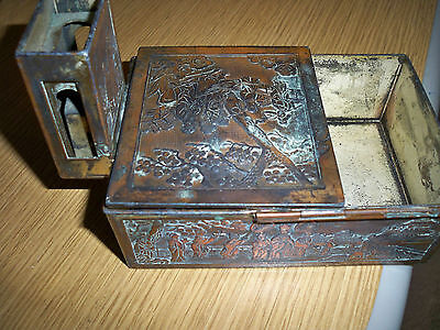 Vintage,Asian, metal carved, writing box,w/lid, 1928 presentation piece