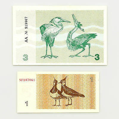 1 set of 2 diff. Lithuania birds 1 Tal. 1992, 3 Tal. 1991 Au-Unc.