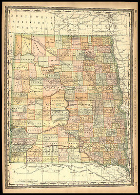 Original 1887 Rand McNally Map of North & South Dakota Northwest Territory
