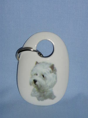 West Highland White Terrier Dog Key Chain Porcelain Fired Decal  2 3/4 In long