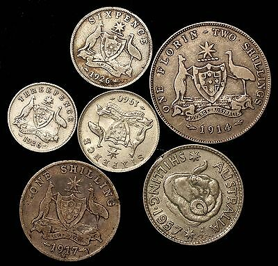 Australia 6 coin silver lot ... 3P to 2 Shillings ... coins as shown