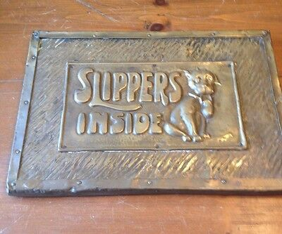 Vintage Brass Store Advertising Plaque - Early Bonzo Dog ? Slippers