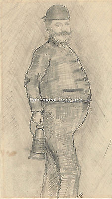 1889 Pencil Drawing of a North Wales Miner, Signed S.Leadbetter