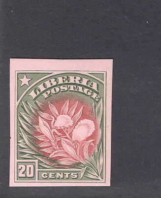 Liberia 1909, 20c flower, IMPERFORATE PROOF on thin card #120