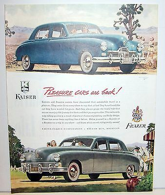 1946 Kaiser Frazier ad Blue and Grey cars Large ad Pleasure cars are Back!