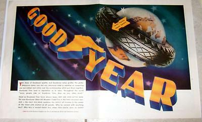 Print ad 1930 Goodyear tire 2 page centerfold color ad