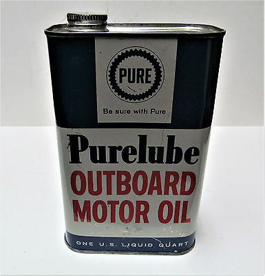 VINTAGE 1 QUART PURE PURELUBE OUTBOARD MOTOR OIL Advertising Metal Tin CAN