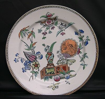 Antique Aesthetic Victorian Era Elsmore & Son English Ironstone Polychrome Plate
