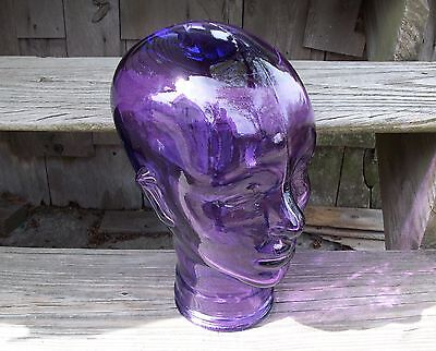 Clear Purple Glass Woman Female Head Mannequin Hat Wig Store Display Bust Art