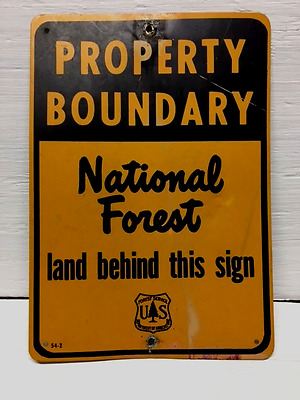 Vintage Aluminum National Forest Boundary Sign