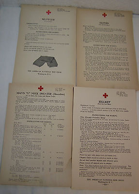 4 VINTAGE KNITTING PATTERNS WWII Red Cross 1940's Military Home Front LOT#3