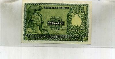 Italy 50 Lire Currency Note Au 6440F
