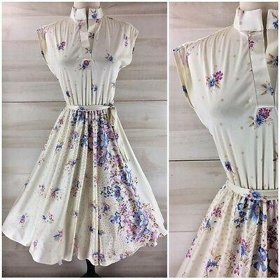 Vintage 70s ivory white floral full skirt hippie boho party dress casual S M