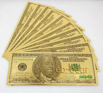 New! lots 10 Pcs $100 US dollar Color Gold Banknote Crafts Unusual Beautifully
