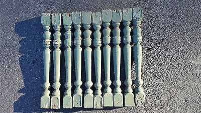 "Set of 10vintage porch spindles or ballustrades  Chippy Green paint 19 1/2"" L"