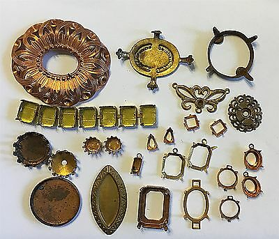 Vintage Lot #dc  Brass Mountings Settings 25 Piece Group
