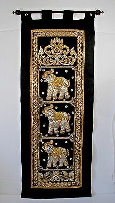 """Hand Embroidered Thai 18"""" X 48"""" Wall Hanging Panel. 3 Raised Sequined And Beaded"""