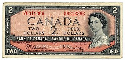 Rare 1954 $2 Note Bank of Canada Devil's Face H/R Prefix