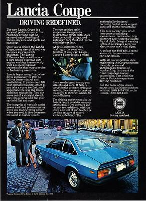 """1979 Lancia Coupe photo """"Driving Redefined"""" vintage promo print ad"""