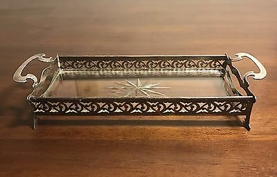 Antique George Henckel Sterling Silver Rectangular Tray Basket with Glass Insert