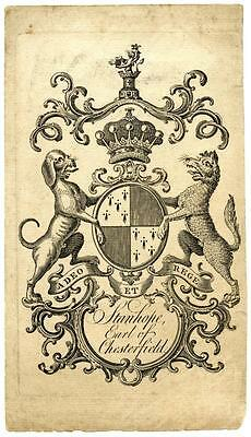 1700s Bookplate Engraving Etching Ex Libris Philip Stanhope Earl of Chesterfield