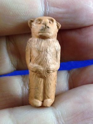 """Vintage GERMANY Hard Rubber Material BEAR OR MONKEY 1"""" tall Miniature Figurine -"""