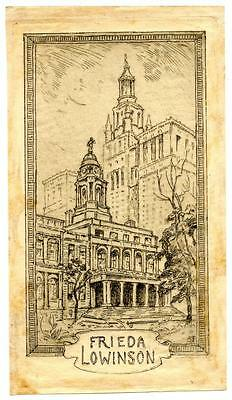 Frieda Lowinson Antique Bookplate Engraving Etching Signed ABF Philadelphia