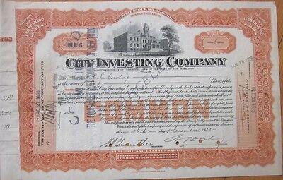 Bank 1923 Stock Certificate: 'City Investing Company' - New York, NY