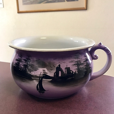Antique English Chamber Pot Porcelain Purple Amethyst Sailboat Scene Nautical