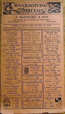 Thanksgiving 1932 Grocery Advertising Poster/Flyer - Saratoga/Porter Corners, NY