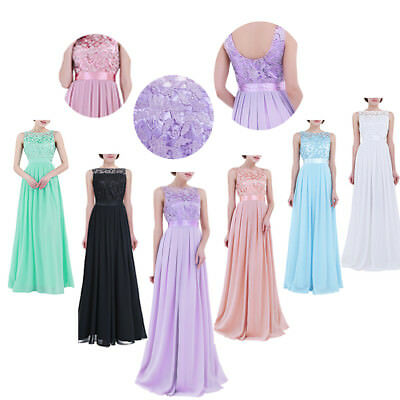Women Embroidered Long Lace Bridesmaid Dress Evening Prom Gown Formal Wedding