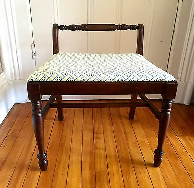 Antique Vintage Vanity/Piano Bench New Upholstered Seat Turned Legs