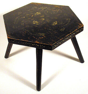 1800s Antique FOOTSTOOL CRICKET STOOL Stencil Painted Primitive Folk Art Hexagon