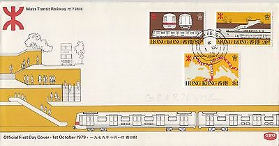Stamps 1979 Hong Kong Mass Transit Railway set of 3 on official first day cover