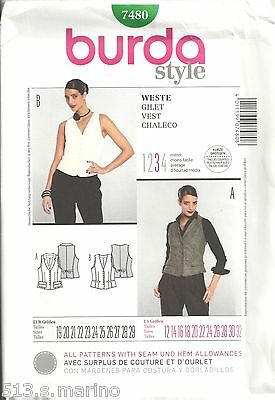 BURDA Style 7480 MISSES' SIZE 12-32 VESTS SEWING PATTERN
