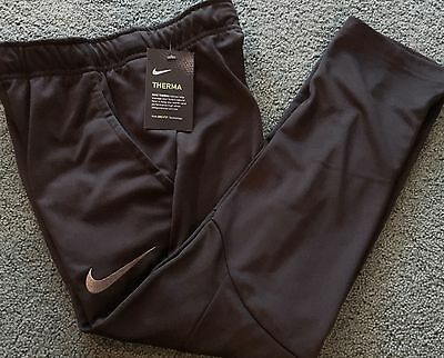 NWT Nike Boys Youth LG Black/Gray Embroider Swoosh Therma-Fit Sweat Pants YLG