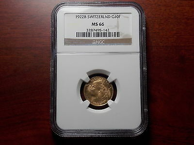 1922 Switzerland 10 Francs Gold coin NGC MS-66