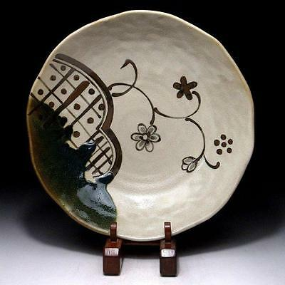 SN5: Japanese Pottery Tea plate, Oribe ware, Dia. 9.7 inches, Tea ceremony
