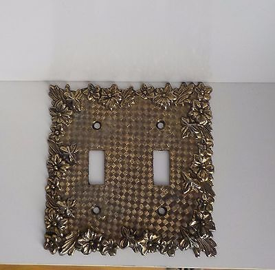 Vintage Ornate Brass Double Light Switch Plate Great Details